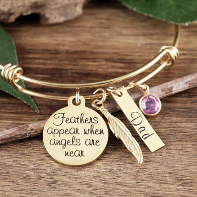 Personalized Guardian Angel Bangle Bracelet - Jennifer Stone Co.