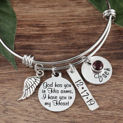 Personalized Memorial Bangle Bracelet - Jennifer Stone Co.