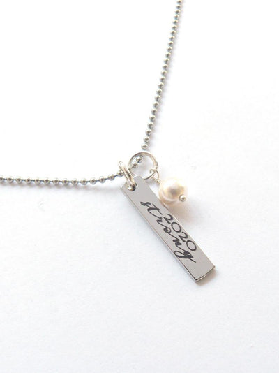Personalized 2020 Strong Bar Necklace - Jennifer Stone Co.
