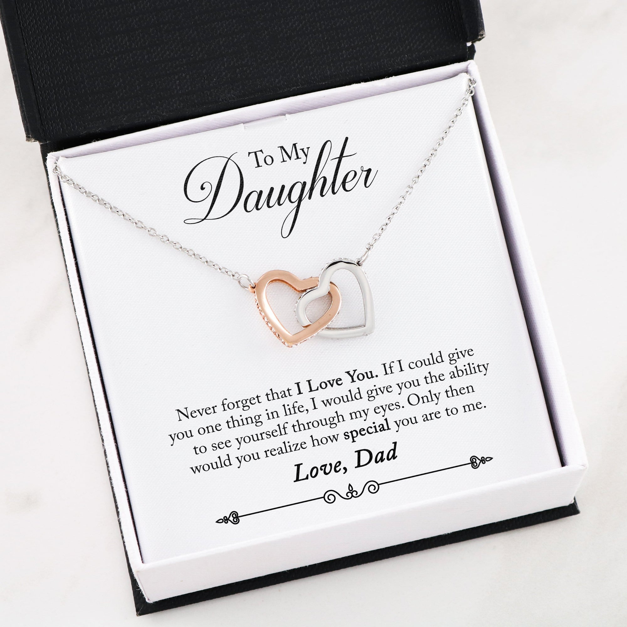 """To My Daughter"" Interlocking Heart Necklace (From Dad)"