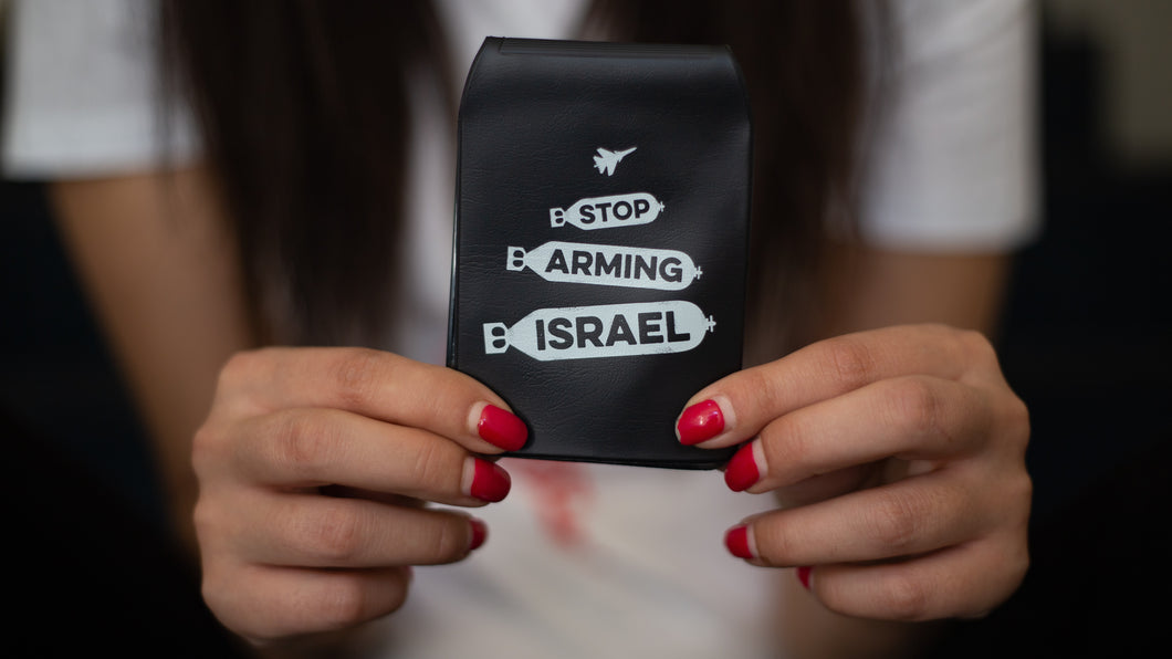 Travelcard Holder 'Stop Arming Israel'
