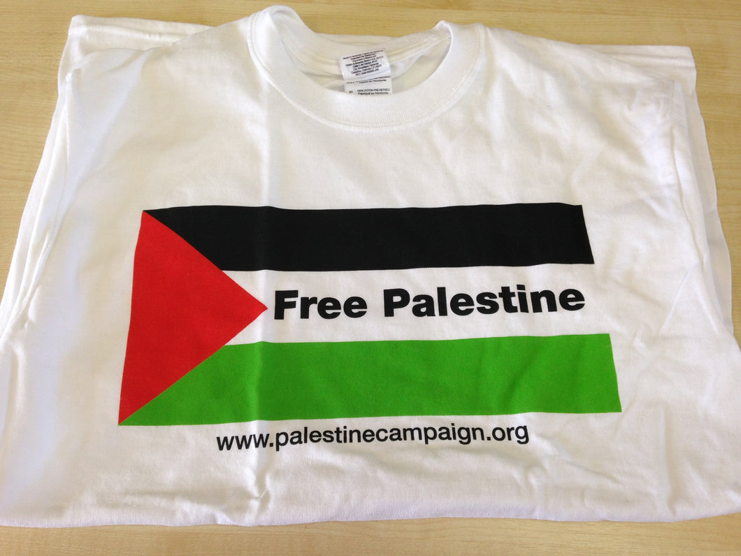 'Free Palestine Flag' T-shirt (white)