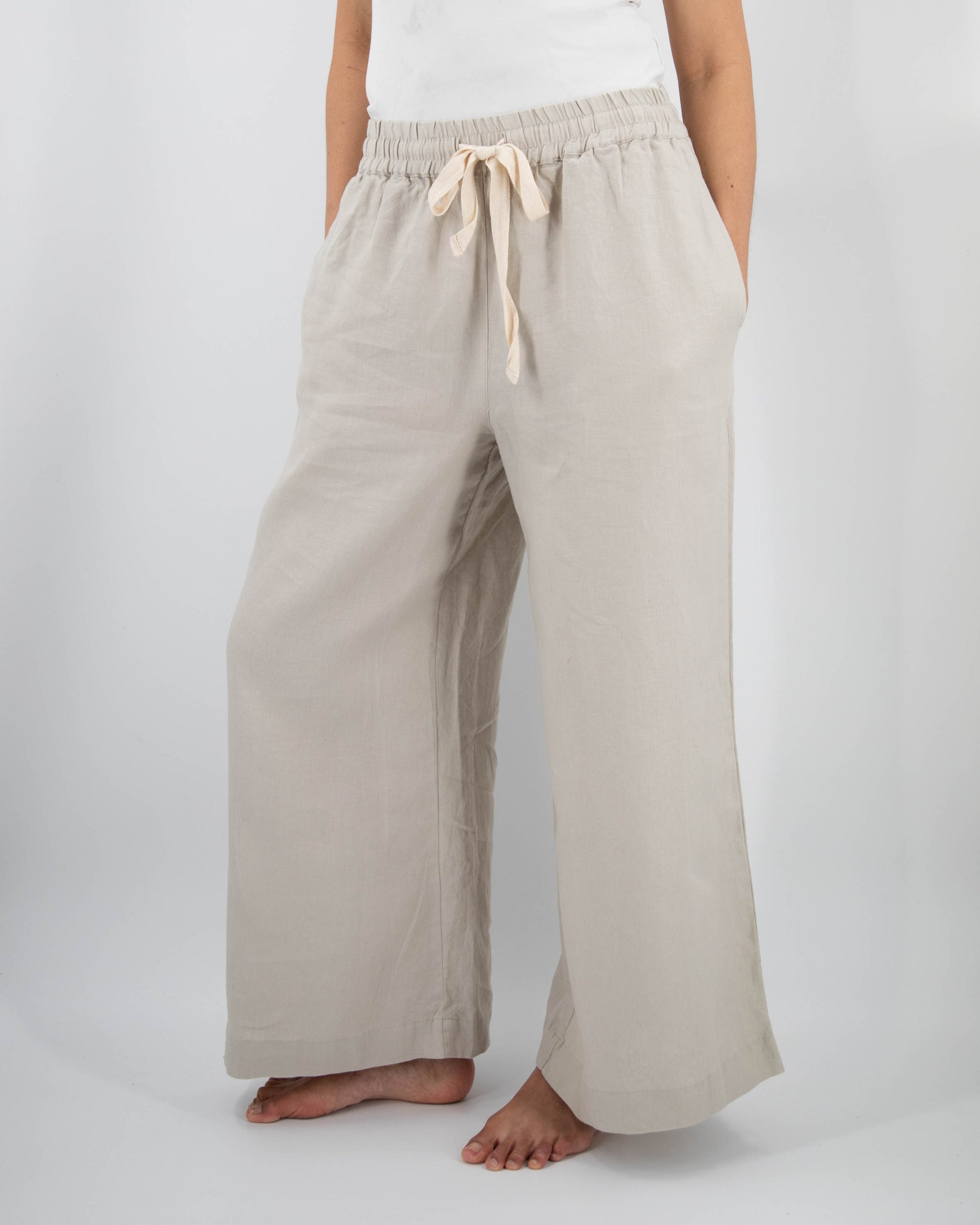 Front shot of wide-leg linen pant in dove gray