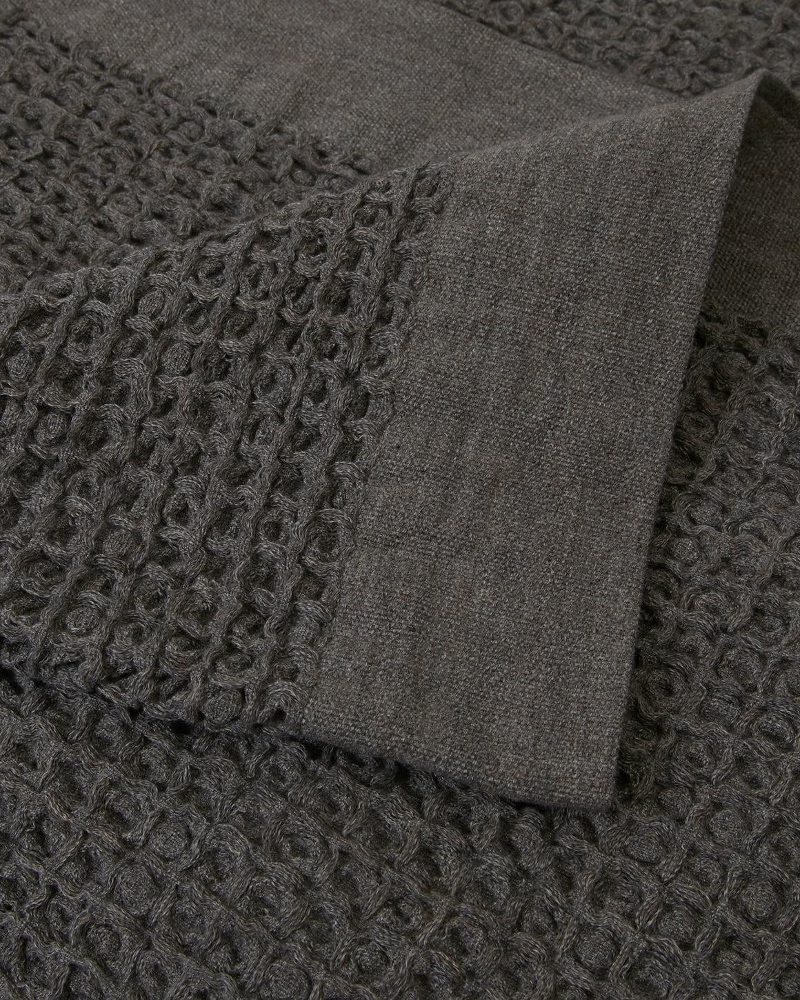 Castine Waffle-Weave Cotton Throw - Ash