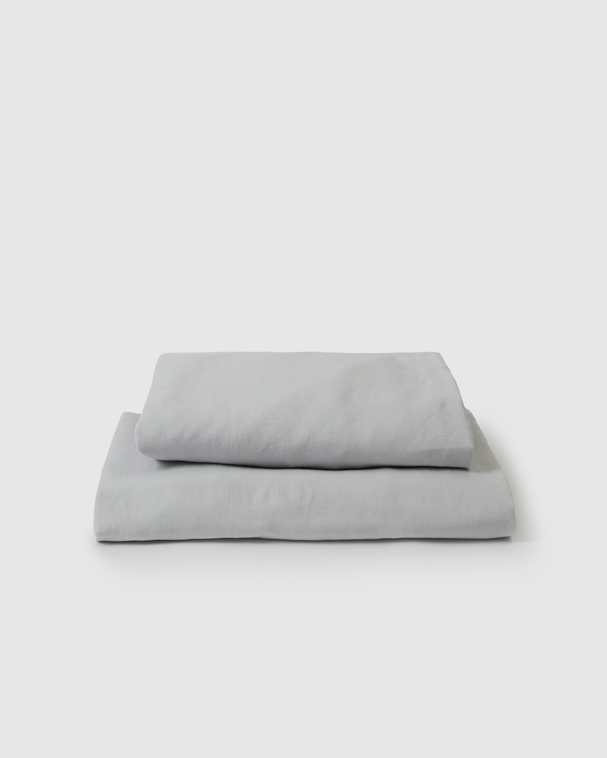 Image of light blue glacier flat and fitted sheet set