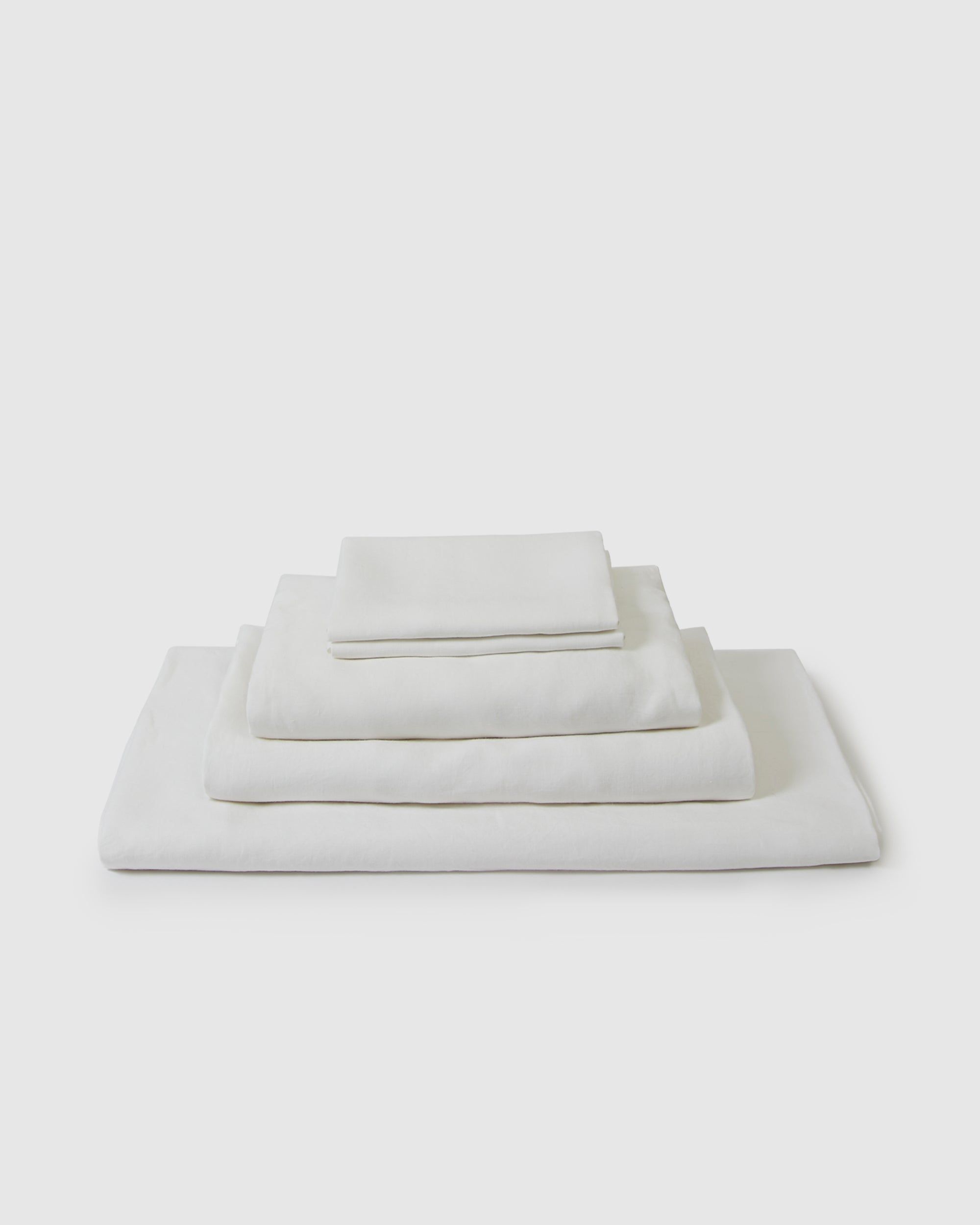 Linen sheets collection set in a creamy white milk color