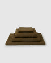 Linen sheets collection set in a moss green color