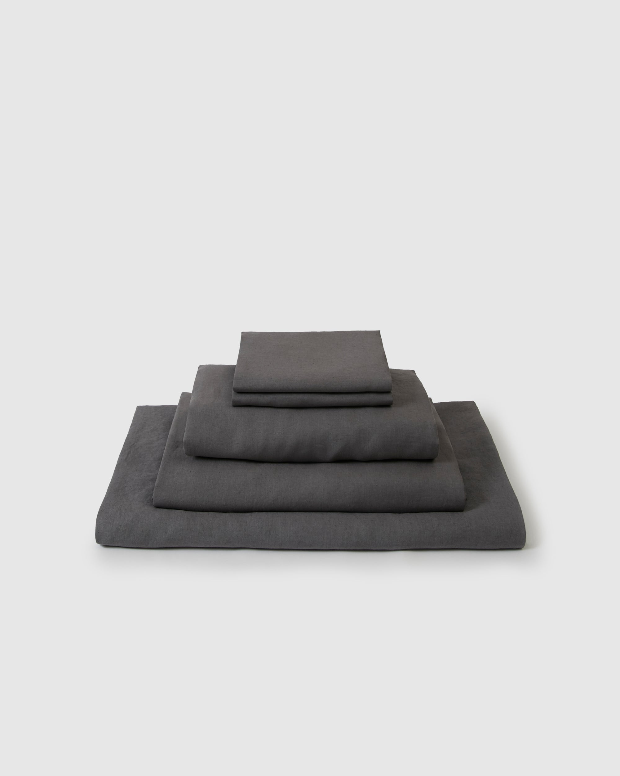 Linen sheets collection set in a dark gray storm color
