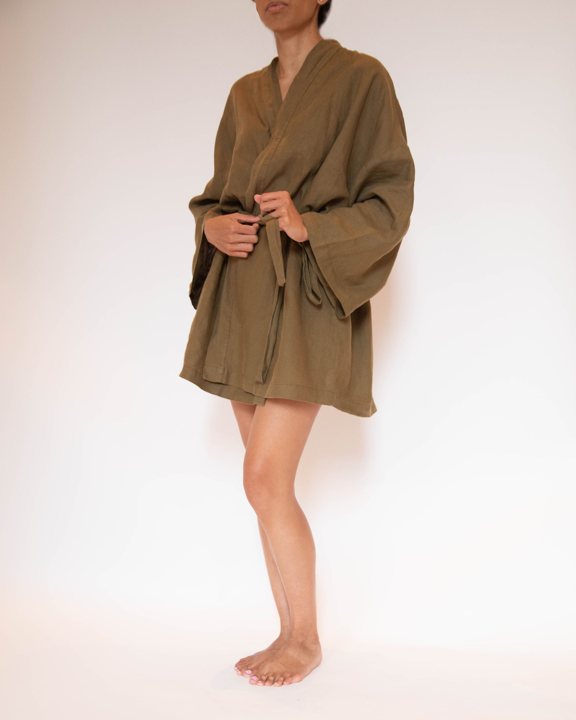 Frances Short French Linen Robe