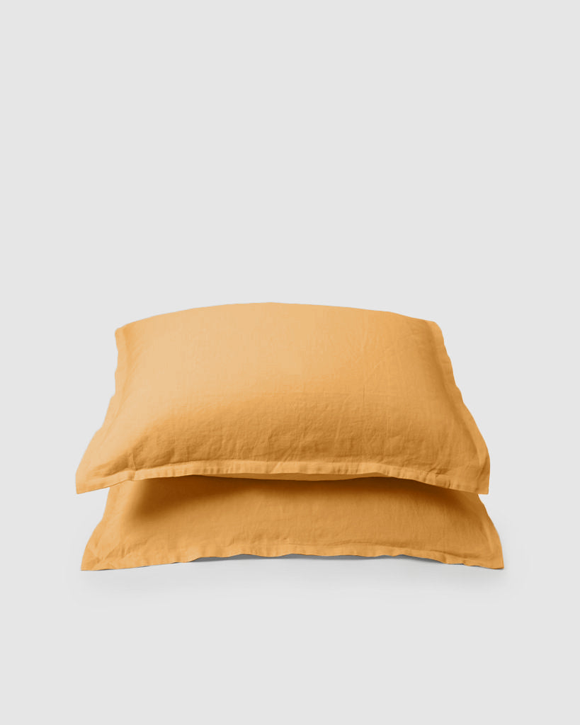 Marcel Linen Pillowcases (Pair) - Mustard
