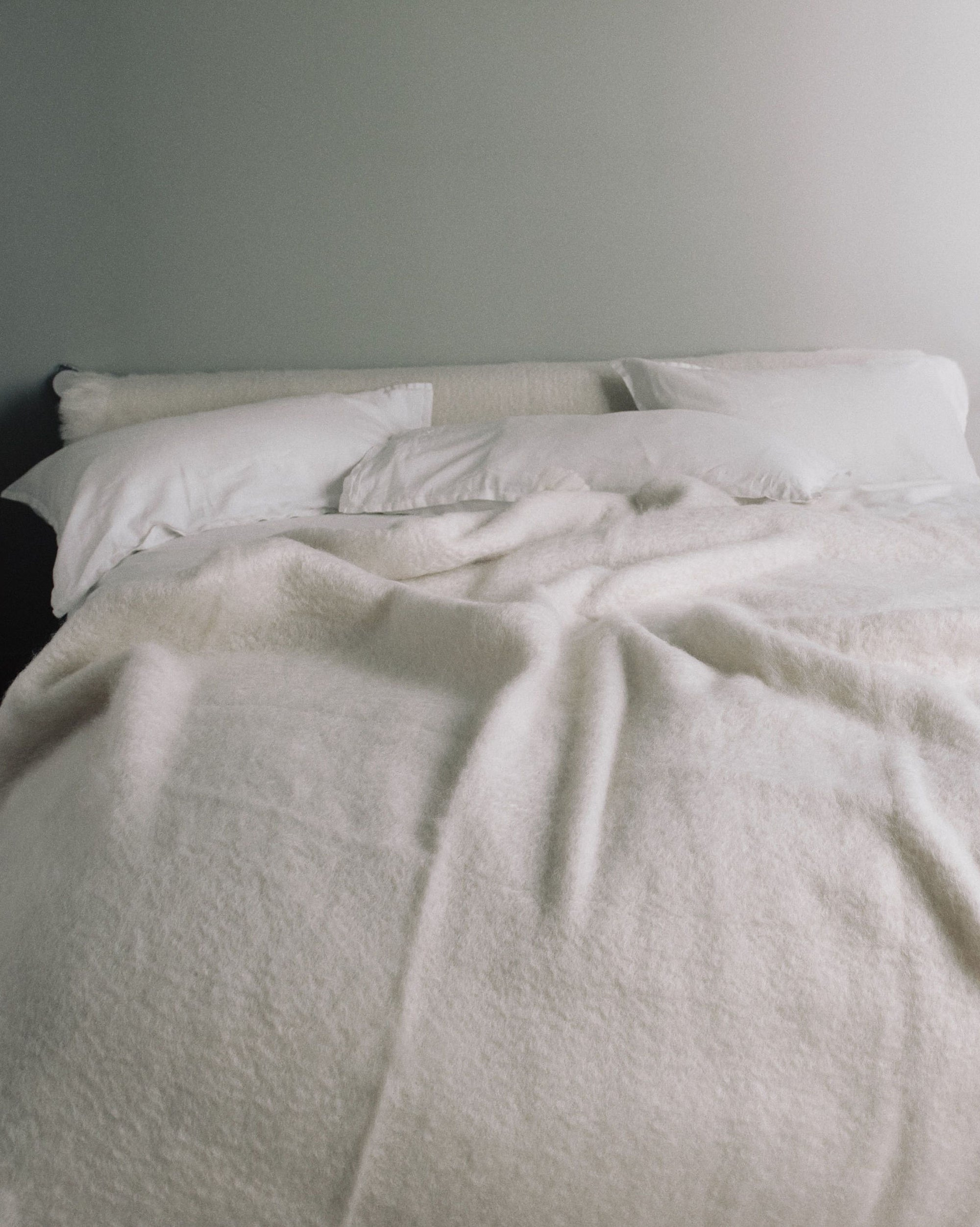 cream colored mohair wool blanket