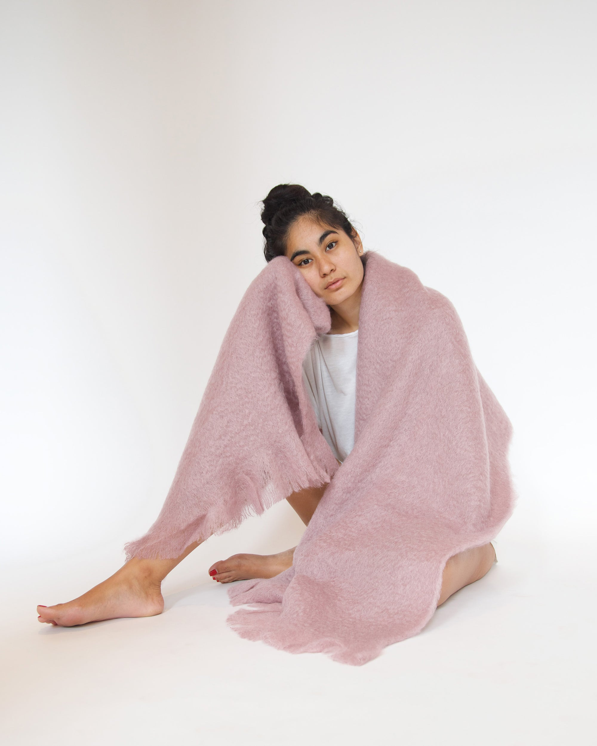 Pale Rose mohair wool throw