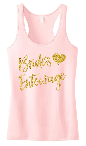 Brides Entourage Script Tank Top with Gold Glitter