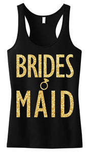 BRIDESMAID Gold GLITTER Tank Top Black
