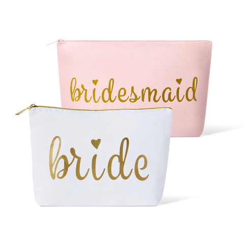 Pink Bridesmaid Canvas Makeup Bag