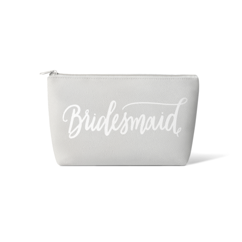 Grey Bridesmaid Faux Leather Makeup Bags