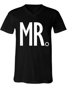 MR. Groom Shirt Black V-neck