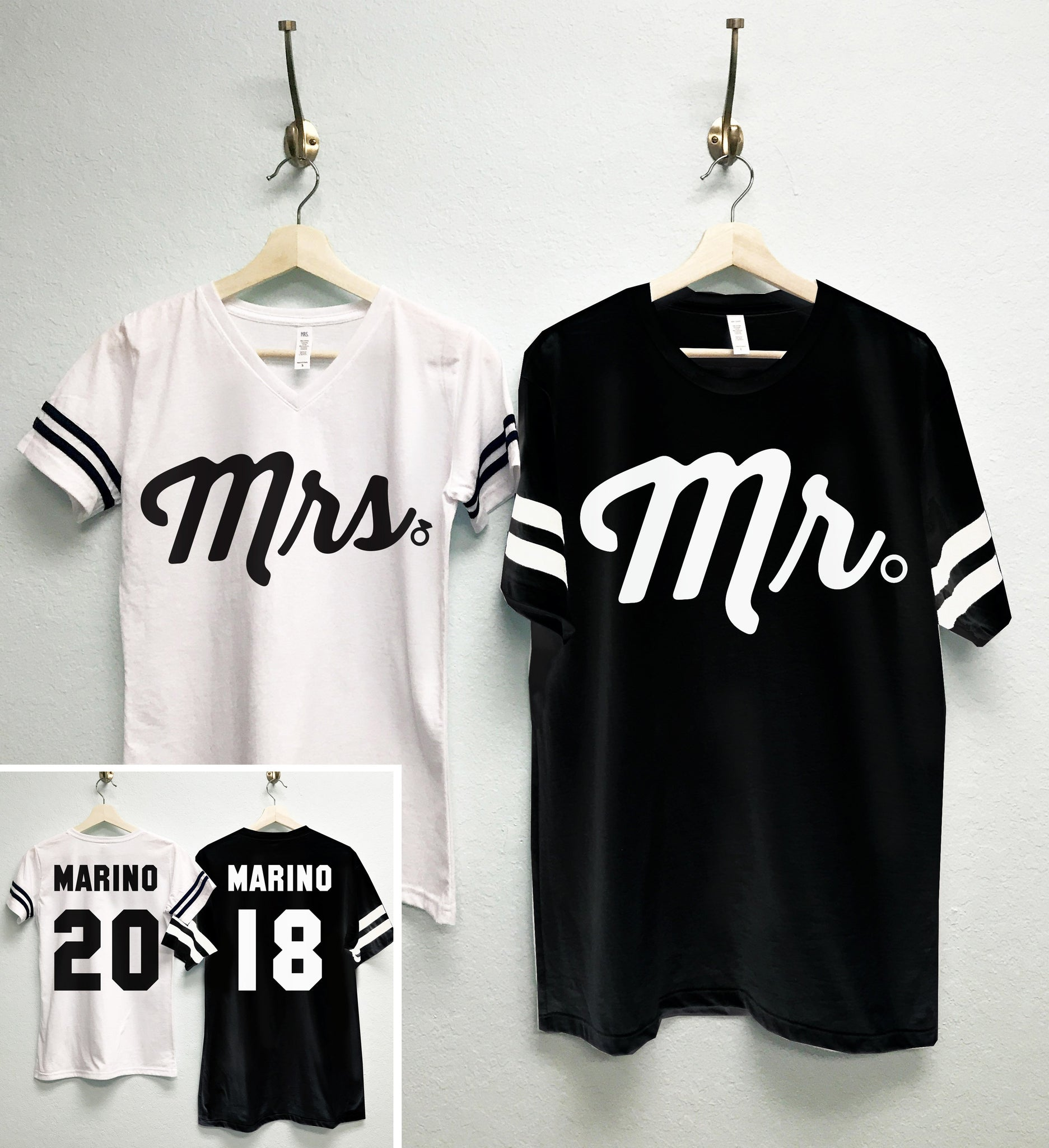 MRS Bride Shirt + MR Groom Tees CUSTOM Names &