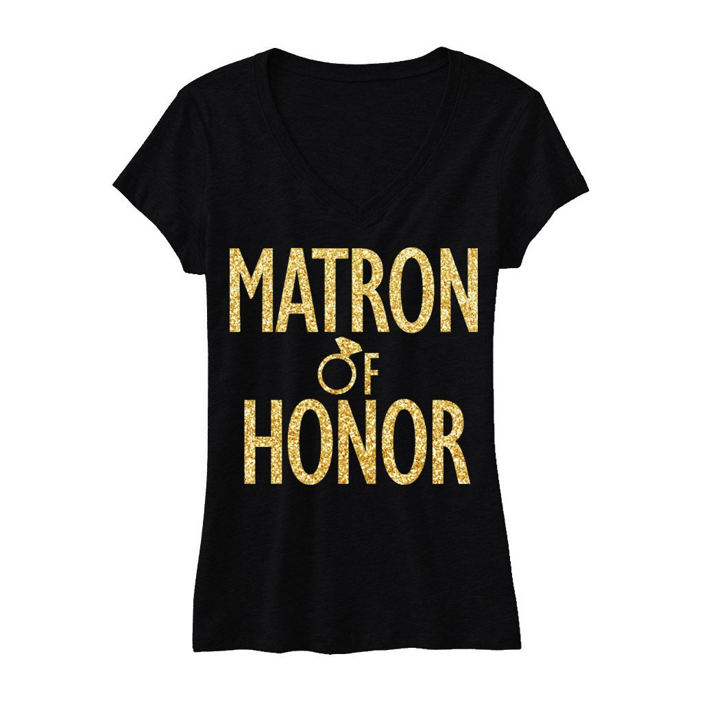 MATRON of HONOR Gold GLITTER Bridal Shirt V-neck