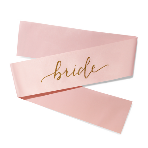Adjustable Pink Bride Sash with Gold Glitter Dust - Free Shipping!