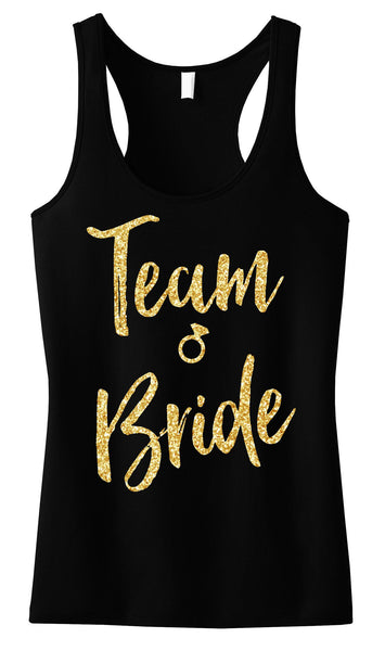 Team Bride Script Tank Top with Gold Glitter -
