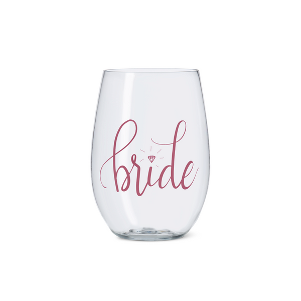 Pink Bride Tribe Durable Plastic Stemless Wine