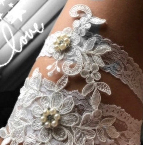 BEST SELLER Wedding Garter for bride. Bridal Garter available in several colors. Wedding Garter Set - Style A11221