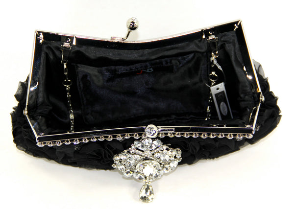 Black Silk Bridal Clutch with Swarovski Crystal Accent. Black sequin evening bag with rhinestones along the top and in the closure snap.