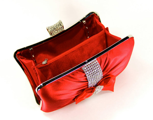 Red Satin Wristlet Clutch Purse with Rhinestones and a Satin Bow. The Love Story