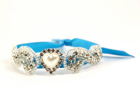 Aegean Blue Bridal Cuff, Bridal Bracelet, Rhinestone Bridal Cuff, Bridesmaid Jewelry - Something Blue