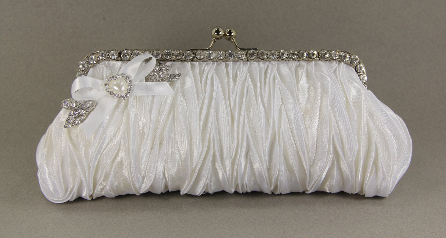 White Wristlet Clutch Purse w/ Swarovski Crystal Brooch and a Lovely Pearl Handle That Can Also Be Worn As A Necklace, White satin purse,