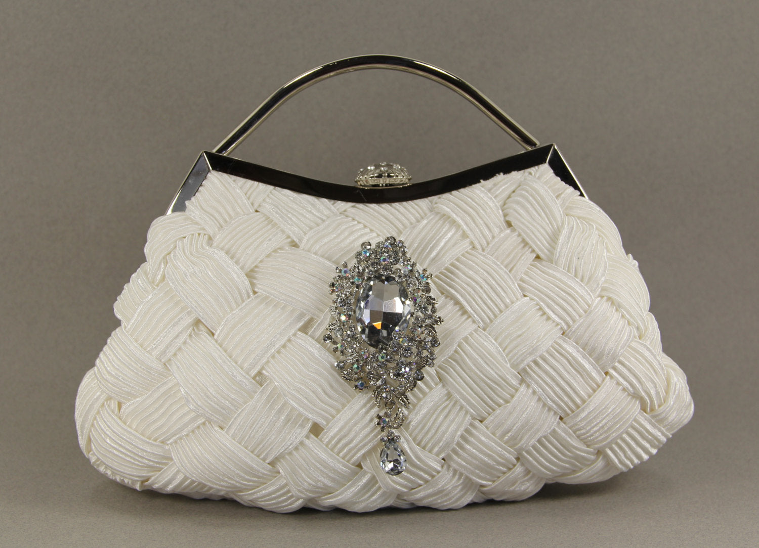 Off White Chiffon Wristlet Clutch Purse with Swarovski Crystal Accent. Rhinestone Seashell clasp for beach theme wedding. The Love Story
