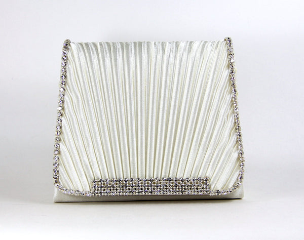 Off White wristlet clutch purse with Austrian Crystals - Off White Satin Purse - Bridal Clutch - Wedding Purse - Crystal Bridal Clutch