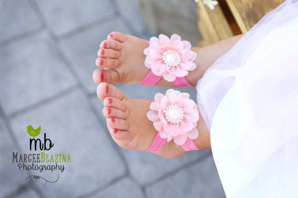 Barefoot sandals. Flower sandals great for Photo prop. Free Shipping