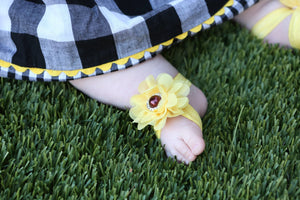 Barefoot sandals. Sunflower sandals great for Photo prop. Free Shipping