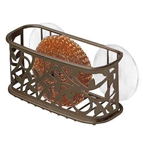 iDesign Vine Decorative Steel Suction Kitchen Sink Dish Sponge Holder
