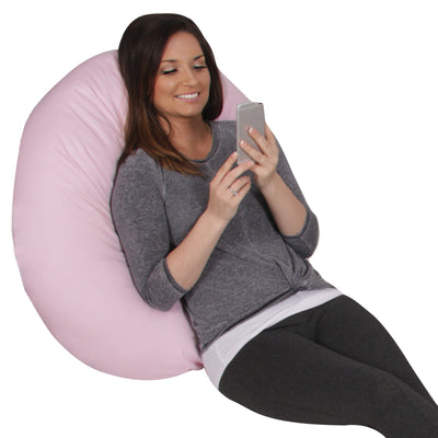 The C Body Pillow Cotton Pink and Blue Lounging