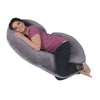 The C Body Pillow Gray Velour Flipped