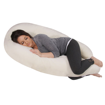 The U Body Pillow Ivory Velour Main