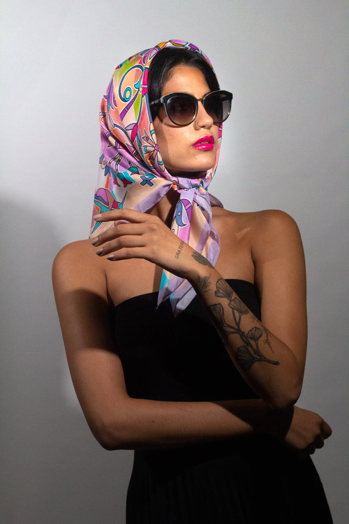 Alice Riot provides luxury silk accessories created by women artists. Our silk scarves are the perfect fashion accessory for women and a work of contemporary art. Each scarf is made from 100% Italian silk. Support female artists who create wearable art. #wearthegallery
