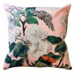 Gladys & Charles, Apple Blossom Nude Pink Luxury Velvet Cushion, by VanillaFly, 50x50cm