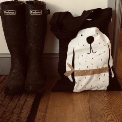 Black cotton tote bags with White and black spotty dog with floppy ears