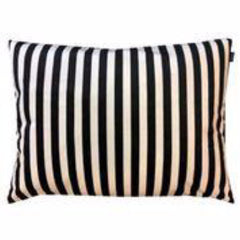 Gladys & Charles Luxury Black and Cream Stripe Velvet Cushion, by Vanillafly, 40x80cm