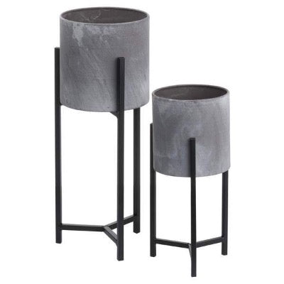 Set of Two Concrete Table Top Planters