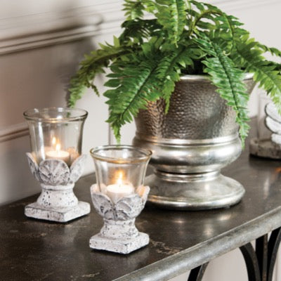 Birkdale Stone Leaf Hurricane candle holder, small
