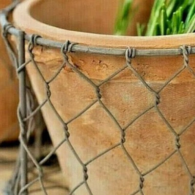 Close up view of the restore pot encased in the wire basket