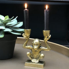 Decorative Gold Metal Monkey Two Candle Holder