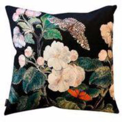 Gladys & Charles, Velvet Cushion Apple Blossom Black, by VanillaFly, 50x50cm, statement cushion