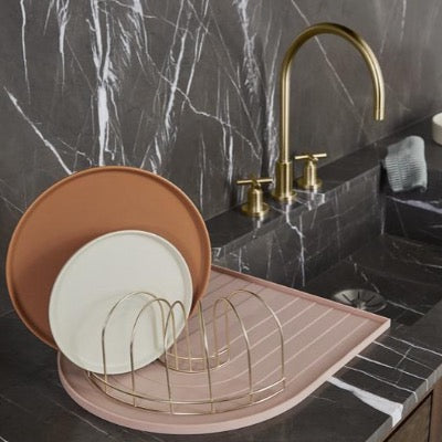 Pink Rainbow Dish Tray with Brass Drainer