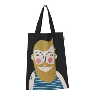 Frank Tote Bag, Black bag with image of Frank brown hair and long beard. Stripe tank top and anchor tattoo on arm.